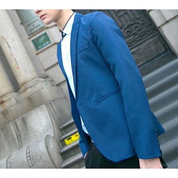 Men's Blazer Shawl Lapel Polyester Purple / Light Blue / Royal Blue / Slim