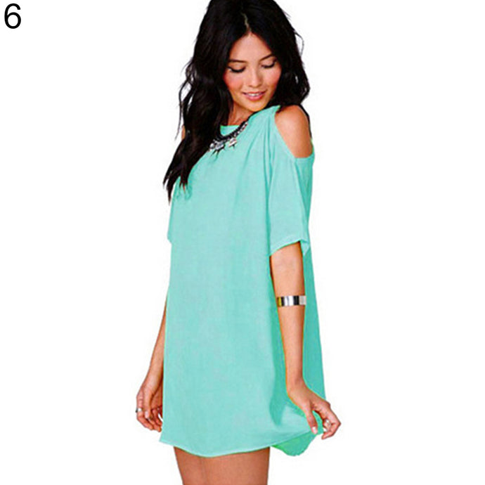 Women's Fashion Summer Sexy Off Shoulder Chiffon Short Sleeve T-Shirt Tops Mini Dress