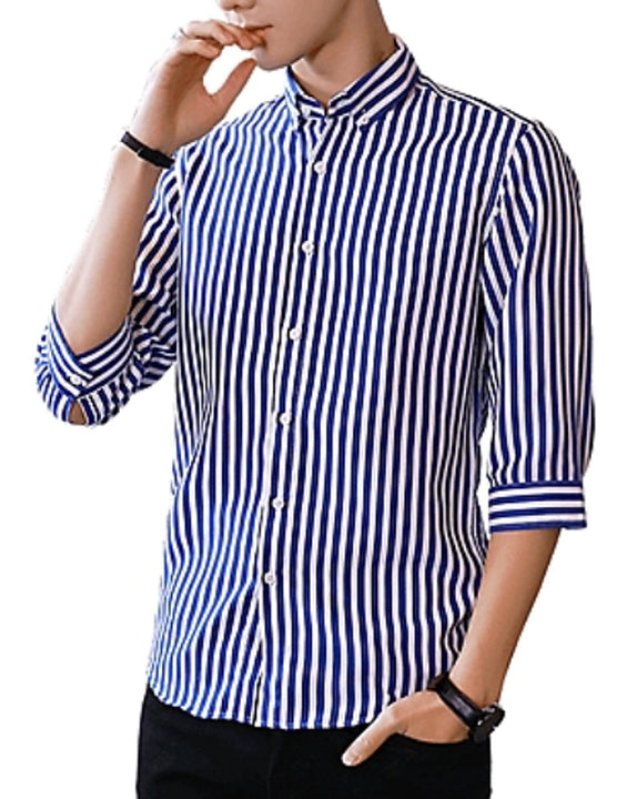 Men's Daily Work Business / Basic Slim Shirt - Striped Red / Long Sleeve