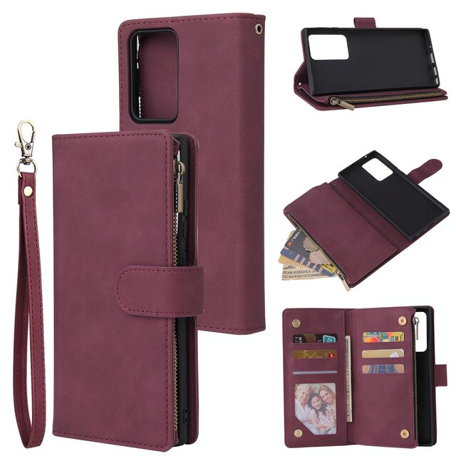 For Samsung Note 20 Ultra 10 9 A71 A51 A41 Zipper Wallet Flip Leather Case For Samsung S20 S10 S9 S8 Plus S10 Lite Phone Cases