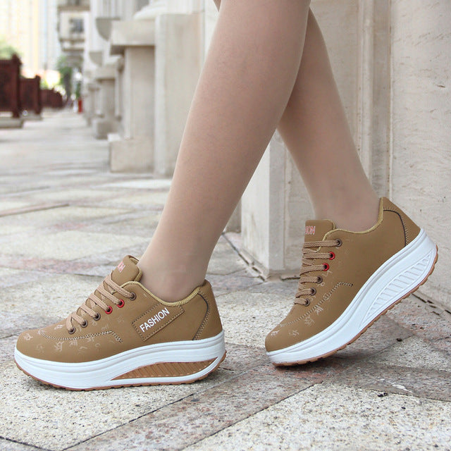 women running shoes sneakers female breathable thick bottom wedges outdoor