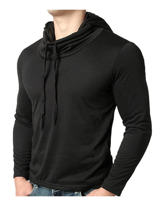 Men's EU / US Size T-shirt - Solid Colored Hooded Black