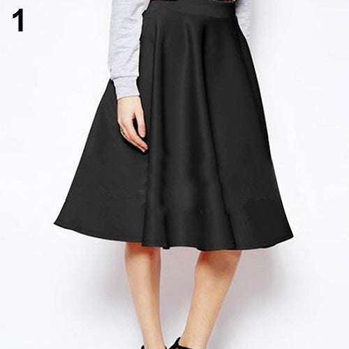 Women Summer High Waist Long A Line Pleated Midi Skirt Office Ball Dress