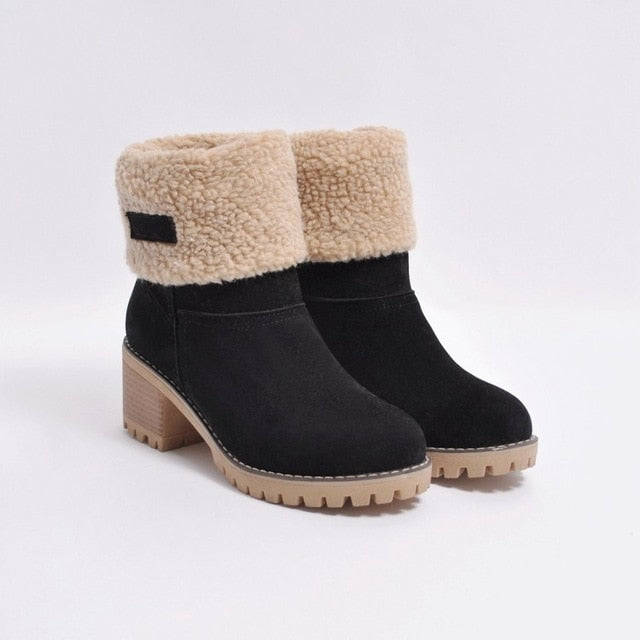 New Women Boots Winter Outdoor Keep Warm Fur Boots Waterproof Women's Snow Boots Thick Heel With Round Head Short Boot