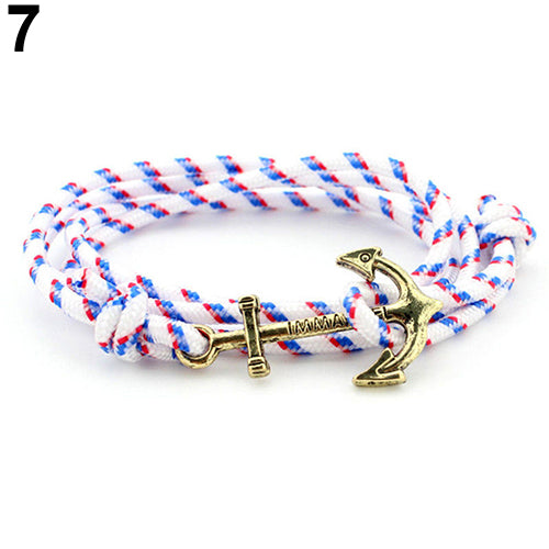 Men's Fashion Multilayer Handmade Rope Wristband Anchor Charms Bracelet Bangle