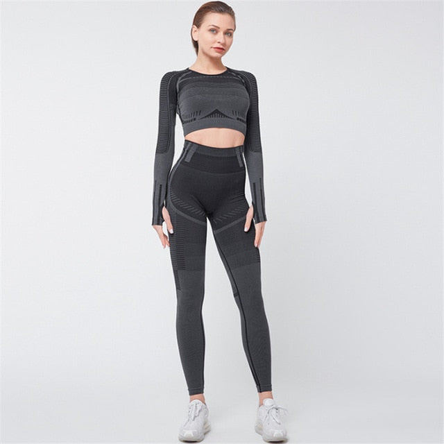 Yoga Set Seamless Ensemble Sexy Thumb Hole Sport Suit Women Sportswear Fitness Set Workout Gym Wear Running Clothing Tracksuit