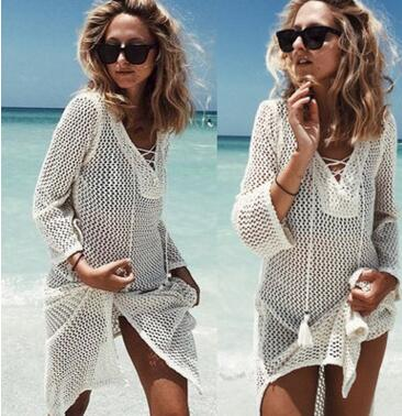 Summer Beach Wear Dress Tunic Pareos Women Skirt Knitting Hollow Bandage Longa Kaftan Beach Cover Up