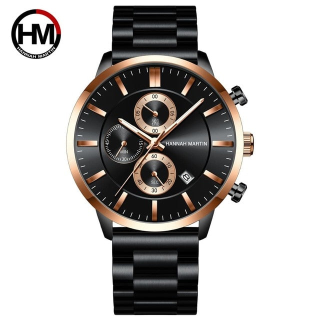 2020 New Blue Solid Stainless Steel Band Business Multi-function Calendar Waterproof Top Brand Luxury Wrist Watches For Men