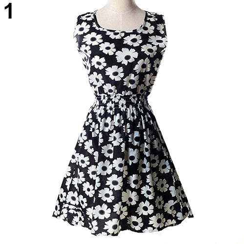 Women Sexy Casual Flower Print Sleeveless Skirt Summer Chiffon Beach Dress S-XXL