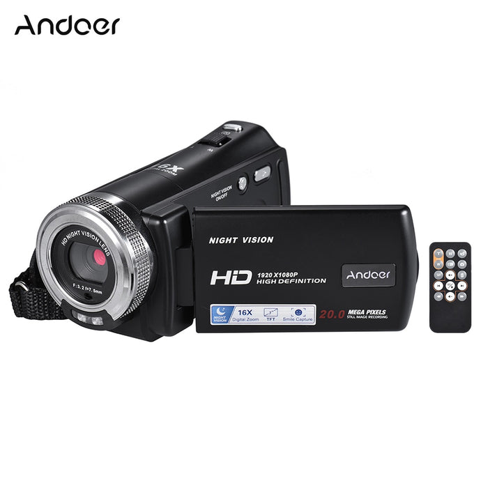 Andoer V12 1080P Full HD 16X Digital Zoom Recording Video Camera Portable Camcorder with 3.0 Inch Rotatable LCD Screen