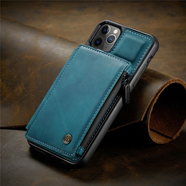 Leather Phone Case For iPhone 11 12 Pro XS Max XR X 7 8 Plus Zipper Wallet Cover For Samsung Note 20 Ultra S20 S10 S9 S8 Coque