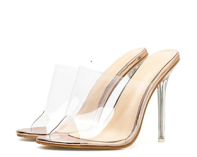 Women Slippers Comfortable Soft Sandals Sexy Women Shoes Party Crystal Transparent High Heel