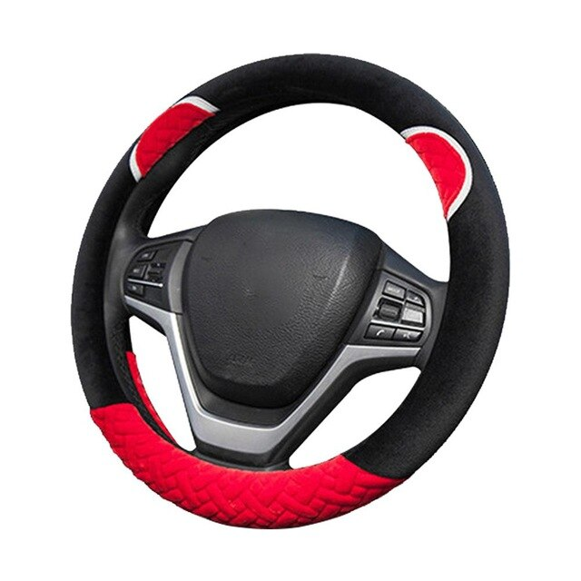 Plush Cartoon Car Steering Wheel Cover D-type Linen Carbon Fiber Leather Handlebar Cover Comfortable And Breathable