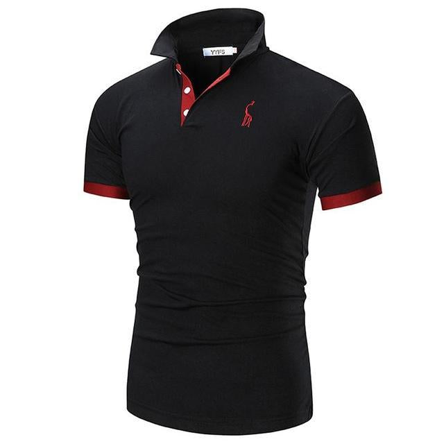 2020 Mens Polo Shirt Brands Male Short Sleeve Casual Slim Solid Color Deer Embroidery Polo shirt
