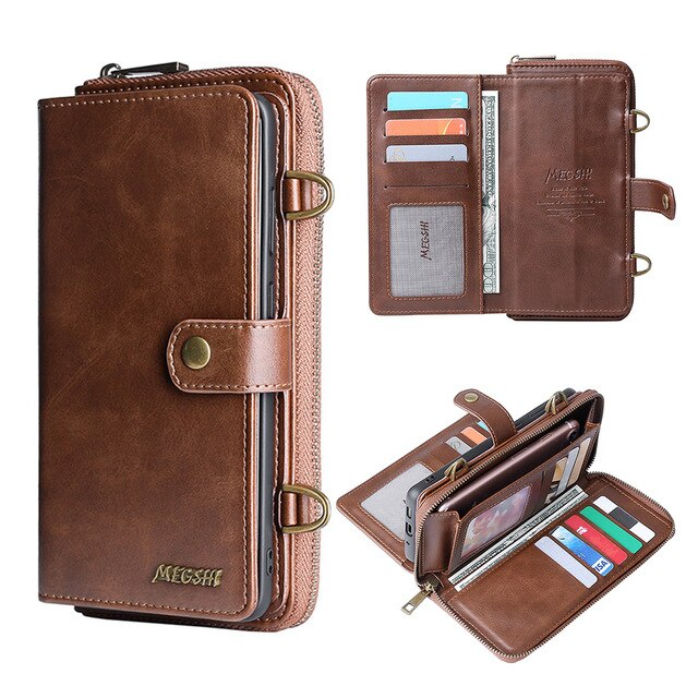 Wallet Leather Phone Case For Samsung Galaxy M21 A50 A51 A70 A71 S8 S9 S10 S20 Plus Note20 Separate handbag with shoulder strap