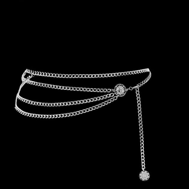Women Fashion Belt Hip High Waist Gold Silver Narrow Metal Chain Chunky Fringes Crystal Diamond Waist Chain