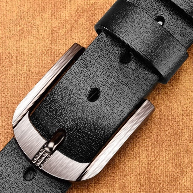 CARTELO Genuine Leather For Men High Quality Black Buckle Jeans Belt Cowskin Casual Belts Business Belt Cowboy waistband