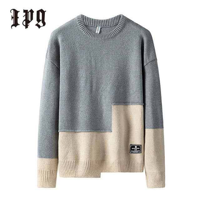 Ipg New Fashion Men Knitted Pullover Sweaters Japanese-style Casual Mens Clothing Stitching Color Knitwear Sweater Brand Man Top