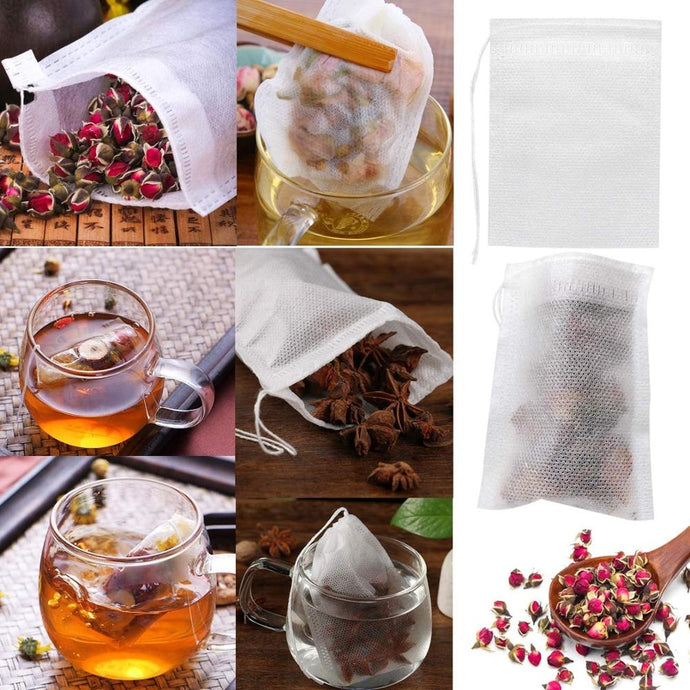 100 Pcs Disposable Tea Bags Filter Bags for Tea Infuser with String Heal Seal, Food Grade Non-woven Fabric Spice Filters Teabags