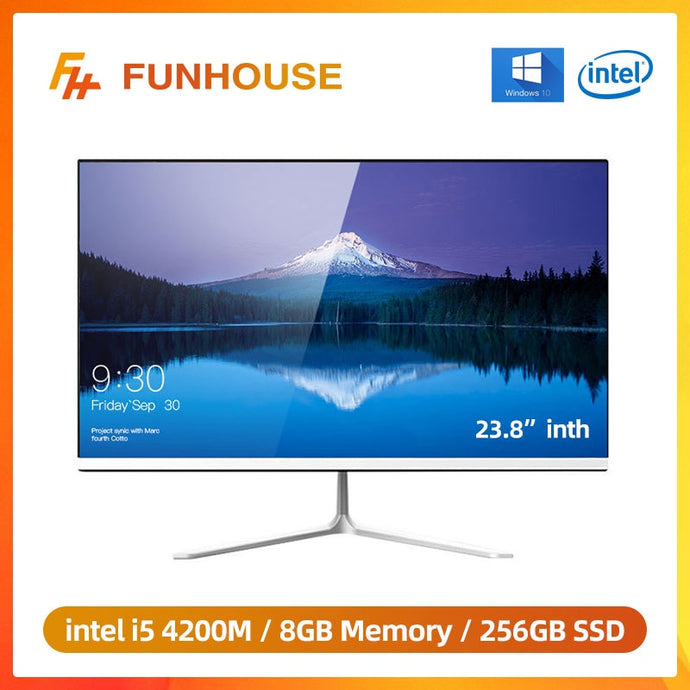 Funhouse 23.8 Inch Office Desktop All-In-One PC/1080P Intel Core I5 4200M 8G RAM 256G SSD ROM Intel HD Graphics 4600 AIO Set