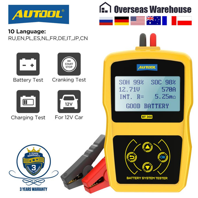 AUTOOL BT360 12V Car Battery Tester Digital Automotive Diagnostic Battery Tester Analyzer Vehicle Cranking Charging Scanner Tool