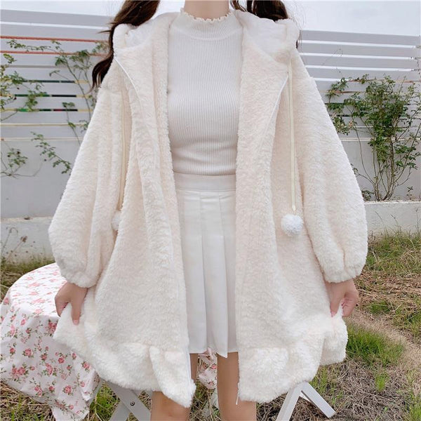 Lolita Teddy Rabbit Ears Hooded Ruffle Faux Wool Zipper Coat MK15335