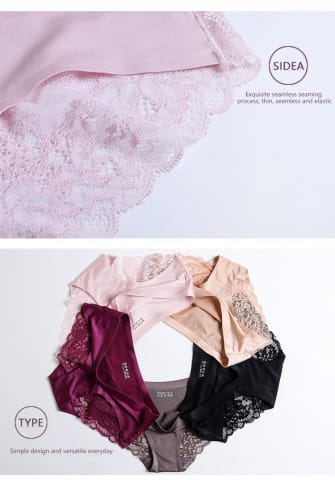 Pearlescent cloth lace stitching sexy panties[Buy 4 get 4