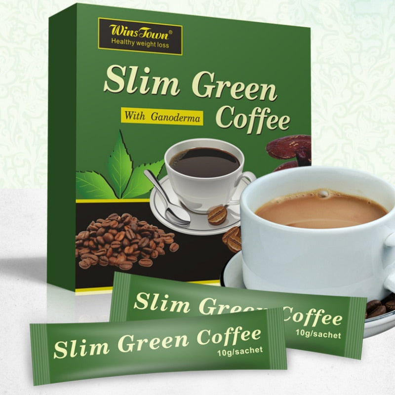 18 Teabags Slim Green Coffee with Ganoderma Control Weight Detox Tea Weight Loss Slimming Fat Burning Health Tea Diet Pills