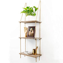 Load image into Gallery viewer, 1 2 3 Tier Rustic Wooden Hanging Rope Shelf Handmade Solid Wood Floating Shelves Home Decorative Wall Mounted Rack Wall Tray