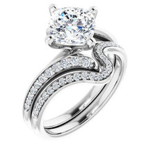 Load image into Gallery viewer, 14K White  7 mm Cushion Engagement Ring Mounting