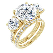 Load image into Gallery viewer, 14K Yellow 11 mm Round 3-Stone Accented Engagement Ring Mounting