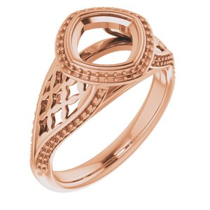 14K Rose  7 mm Cushion Ring Mounting
