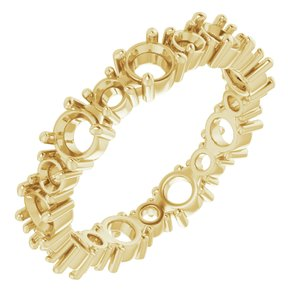 14K Yellow  3.5 mm Round Eternity Band Mounting