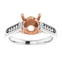 Load image into Gallery viewer, 14K White/Rose 7 x 7 mm Cushion Engagement Ring Mounting