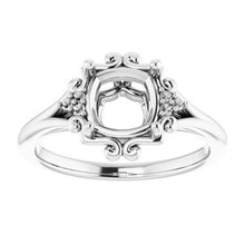 Load image into Gallery viewer, Platinum  7 mm Cushion Ring Mounting