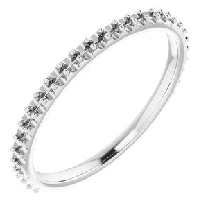 18K White Band Mounting for 9.4 mm Round Ring