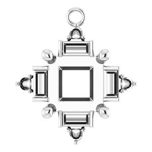 Sterling Silver 6x6 mm Square Accented Dangle Mounting