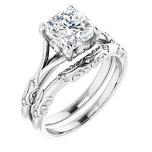 Load image into Gallery viewer, 14K X1 White 7 mm Cushion Solitaire Engagement Ring Mounting