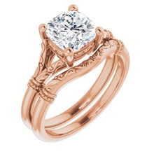 Load image into Gallery viewer, 14K Rose 7 mm Cushion Solitaire Engagement Ring Mounting