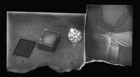 Image of seed to stone diamond and lifestyle shot showing connection