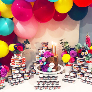 Nutella themed 30th birthday party dessert table