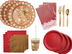 Red and gold Christmas Party Kit from Party Kit Company
