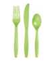 Lime plastic party cutlery