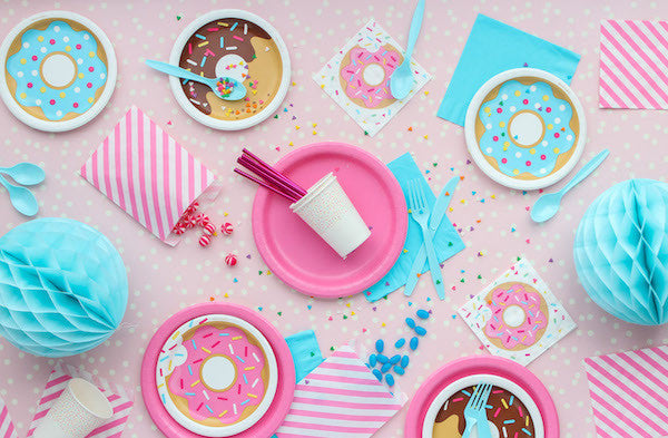 Pink and blue Donut party supplies in a party pack