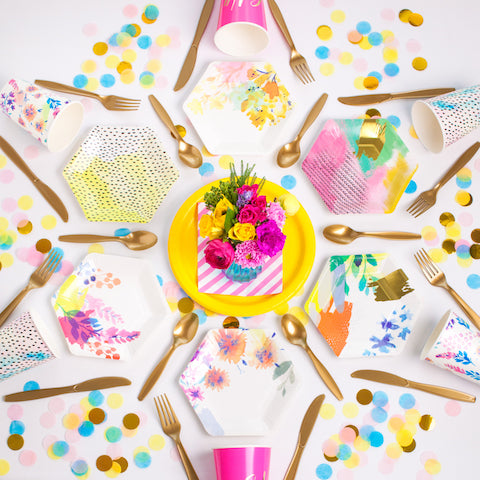 Fluoro floral party supplies from The Kit Source