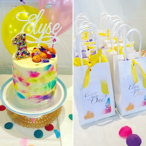 Watercolour layer cake and favour bags