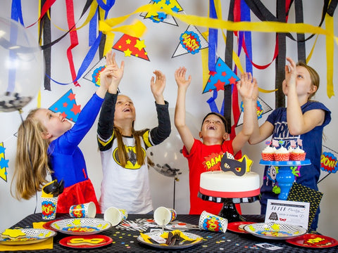 The Superhero Party Kit in use - kids having FUN!