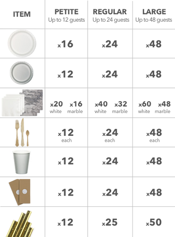 Marble luxe party theme size chart