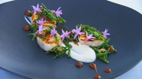 Seared scallops with floral garnish