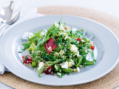 Summer party food ideas: Quinoa salad with asparagus and feta